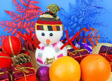 Snowman and christmas decoration. Royalty Free Stock Photography