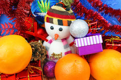 Snowman and christmas decoration Stock Image
