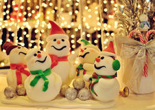 Snowman Christmas decoration. With bokeh background royalty free stock photos