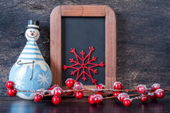 Snowman, Christmas decoration and chalk boards. Stock Image