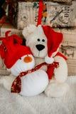 Snowman with Christmas decoration. Christmas and new year snowman with Christmas decoration Royalty Free Stock Image