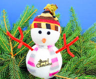 Snowman and christmas decoration. Stock Photo