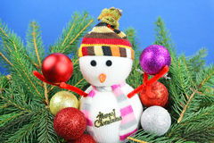 Snowman and christmas decoration. Stock Images