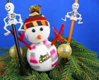 Snowman and christmas decoration. Royalty Free Stock Photo