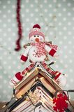 Snowman and christmas decoration Stock Images