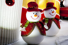 Snowman Christmas decoration lights Stock Photography