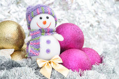 Snowman and Christmas decorations with Christmas balls Stock Photography