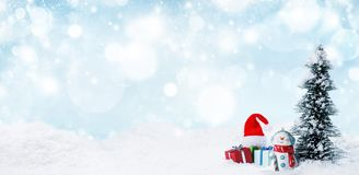 Snowman and Christmas decorations royalty free stock photos
