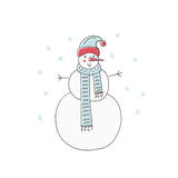 Snowman for Christmas Design. Handdrawn illustration of a snowman for Christmas card. Unique Xmas design Stock Photography