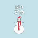 Snowman for Christmas Design. Handdrawn illustration of a snowman for Christmas card. Unique Xmas design. Let it snow lettering Stock Image