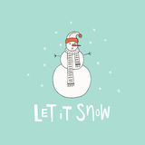 Snowman for Christmas Design. Handdrawn illustration of a snowman for Christmas card. Unique Xmas design. Let it snow lettering Royalty Free Stock Image