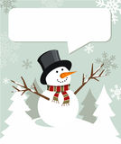 Snowman Christmas with dialogue balloon Royalty Free Stock Photography