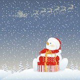 Snowman on Christmas eve Royalty Free Stock Images