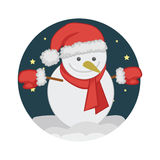 Snowman in Christmas Eve Stock Photo