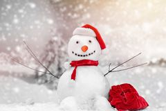 Snowman. Christmas frosty snow ball bauble box royalty free stock photography