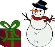 Snowman and Christmas gift. Cartoon illustration of a snowman with a gift beside it Royalty Free Stock Photos