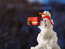 Snowman with christmas gift box. Winter season. Stock Images