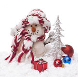 Snowman. And christmas gift, isolated, close-up Royalty Free Stock Image