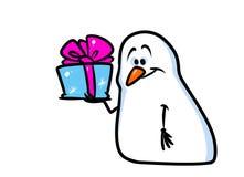 Snowman Christmas gift smile cartoon Royalty Free Stock Photos
