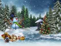 Snowman and Christmas gifts royalty free illustration