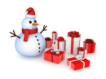 Snowman with christmas gifts. Stock Photography