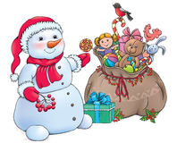Snowman with Christmas gifts Stock Photo