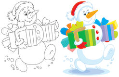 Snowman with Christmas gifts Stock Photos