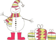 Snowman Christmas Gifts Presents Stock Image