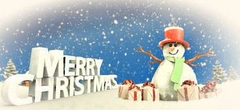 Snowman and Christmas gifts royalty free stock photos
