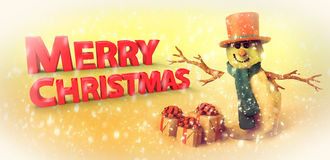 Snowman and Christmas gifts Stock Photos