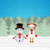 snowman and Christmas goat Royalty Free Stock Images
