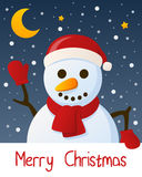Snowman Christmas Greeting Card royalty free stock image