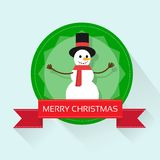 Snowman on christmas greeting card with merry Royalty Free Stock Photos