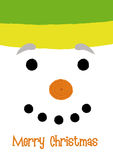 SNOWMAN. Christmas greeting with a snowman face close-up Stock Photos