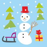 Snowman and christmas items Royalty Free Stock Images