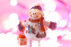 Snowman Christmas lights B Stock Image