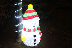 Snowman Christmas lights Royalty Free Stock Images
