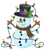 Snowman with Christmas lights image 1. Eps10 vector illustration Royalty Free Stock Images