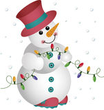Snowman with Christmas Lights Royalty Free Stock Image