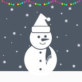 Snowman and Christmas lights. Vector illustration Royalty Free Stock Images