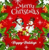 Snowman with Christmas and New year gift poster. Snowman with Christmas gift greeting card for New Year holidays celebration. Snowman with Santa present and Xmas Stock Image