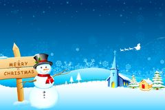 Snowman Christmas night Stock Photos