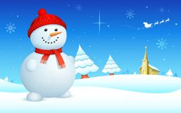 Snowman on Christmas night Stock Images