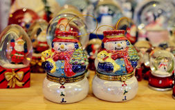 Snowman Christmas Ornament. A pair of Snowman Christmas Ornament royalty free stock photography