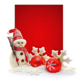 Snowman and Christmas ornaments Royalty Free Stock Photography