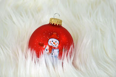 Snowman Christmas ornaments in fur Stock Photography