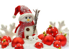 Snowman and Christmas ornaments Royalty Free Stock Photos