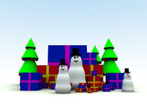 Snowman and Christmas Presents 8 Stock Photography