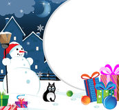 Snowman with Christmas presents Royalty Free Stock Photos