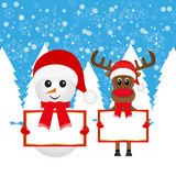 Snowman and Christmas reindeer with banners Royalty Free Stock Photo